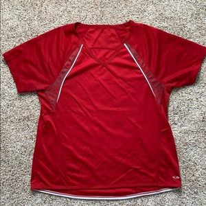 2/$15-Red with grey and white trim shirt s…